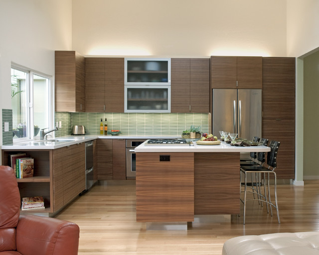 Example Of A Trendy Kitchen Design In San Francisco With Flat Panel Cabinets,  Dark