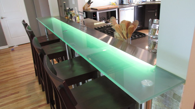 Kitchen Glass Bar Top Contemporary Kitchen Chicago