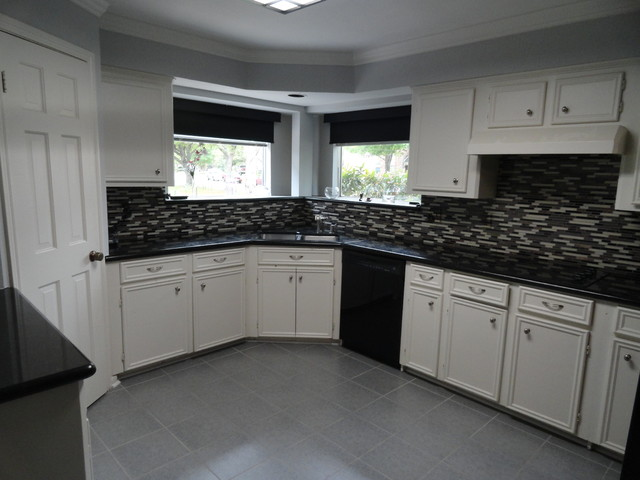 Kitchen, glass mosaic tile, floor tile, paint, before and after
