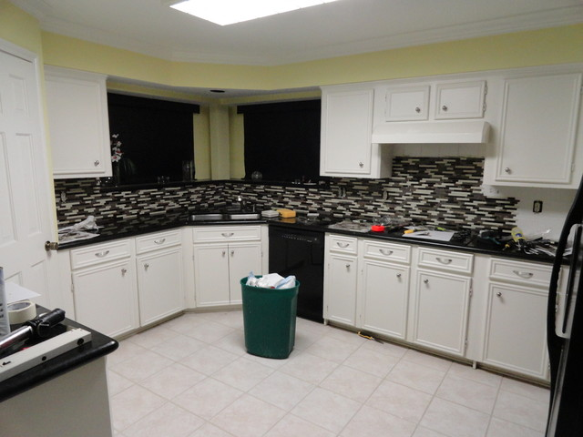 Kitchen, glass mosaic tile, floor tile, paint, before and after ...