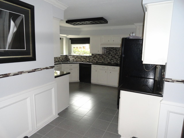 Kitchen, glass mosaic tile, floor tile, paint, before and ...