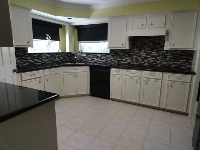 Kitchen Glass Mosaic Tile Floor Tile Paint Before And