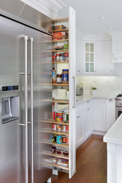 Pantry Cabinet: Thin Pantry Cabinet with Tarragona White ...