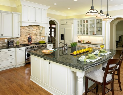 Trendy Hereus A Kitchen With White Cabinets And Verde Erfly Granite From Houzz As An Example Green
