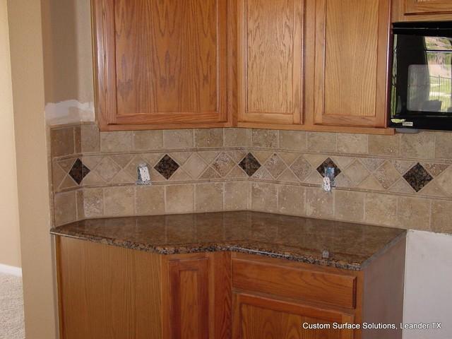 Travertine Stone Countertops : Kitchen granite counter noche travertine tile and