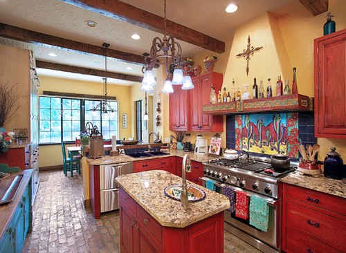 Paramount granite blog 5 bright colorful kitchens for Modern mexican kitchen design