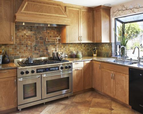 California gold backsplash & subway slate glass mosaic kitchen ...