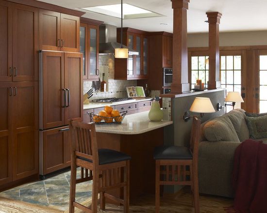 Craftsman style kitchens home design ideas pictures for Half wall kitchen ideas