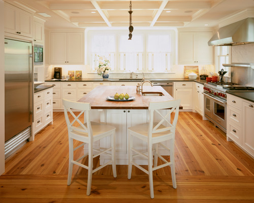 for a rustic look go with a classic like wide plank eastern white pine or heart pine its knottiness will lend a traditional down home feel to the kitchen - Hardwood Flooring For Kitchen
