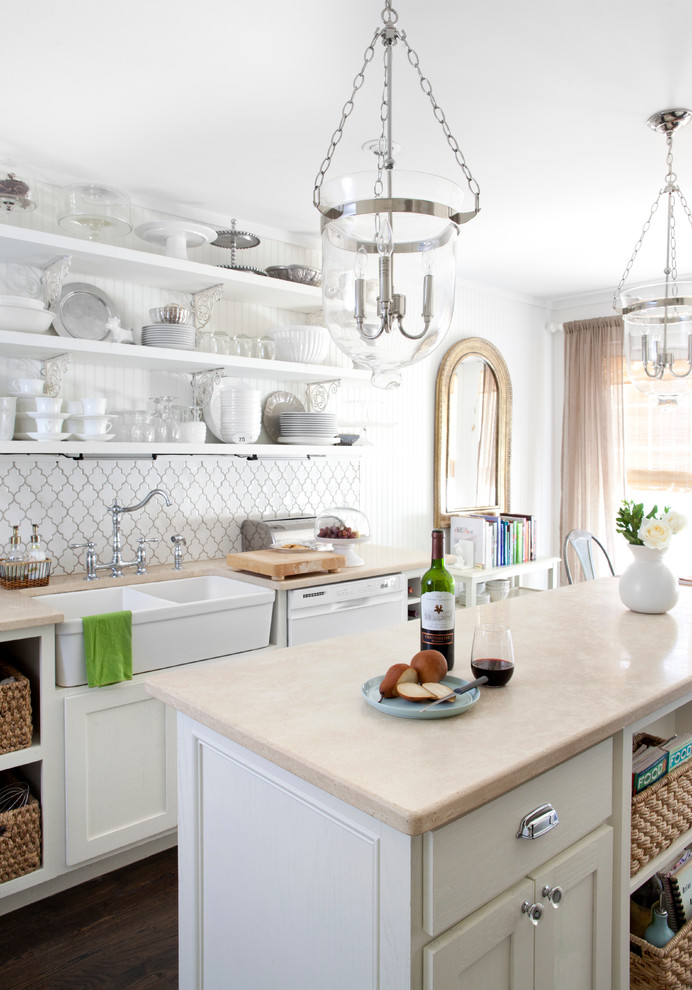 Kitchen - transitional kitchen idea in Phoenix with a double-bowl sink, open cabinets, white cabinets and white backsplash