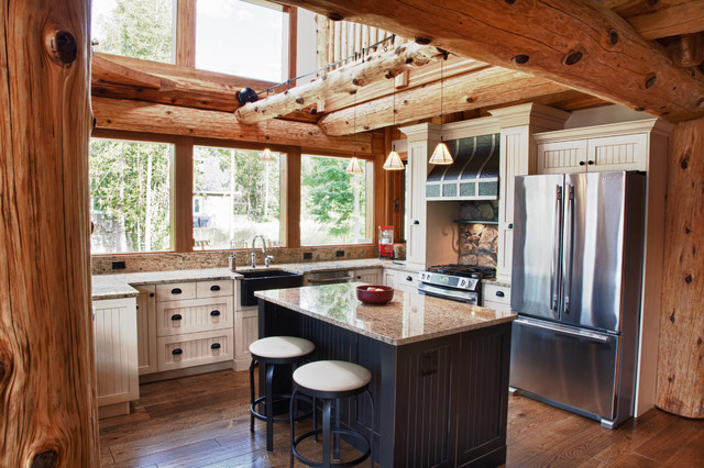 Kitchen ideas for log homes for Log home kitchen designs