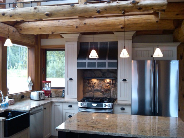 Kitchen ideas for log homes rustic kitchen for Log cabin kitchen backsplash ideas