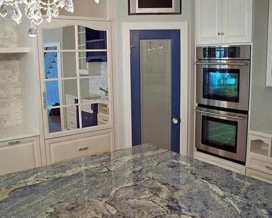 Blue Flower Granite Countertop Kitchen Design Ideas Remodels Photos