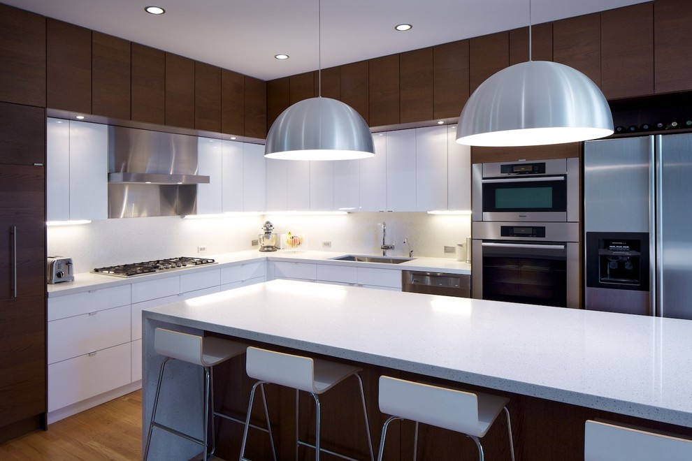 Minimalist l-shaped kitchen photo in Other with stainless steel appliances, quartz countertops, flat-panel cabinets and white cabinets