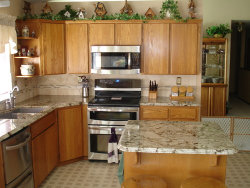 what color granite is this cabinets look like maple are they. Black Bedroom Furniture Sets. Home Design Ideas