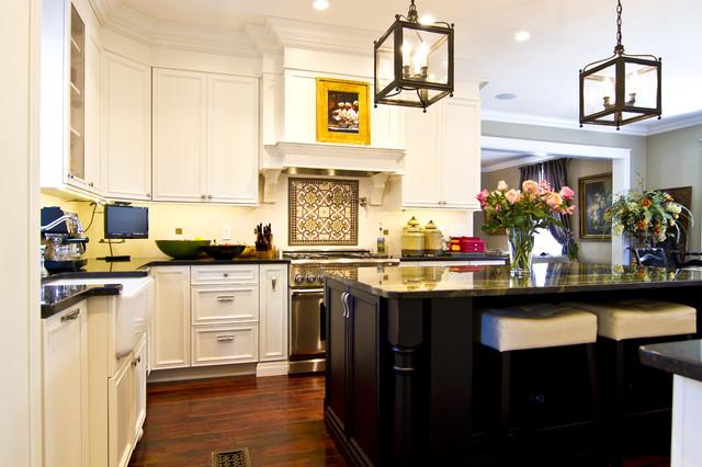 Kitchen in White with distressed dark island - Traditional - Kitchen ...