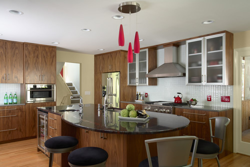 modern kitchen, walnut cabinets