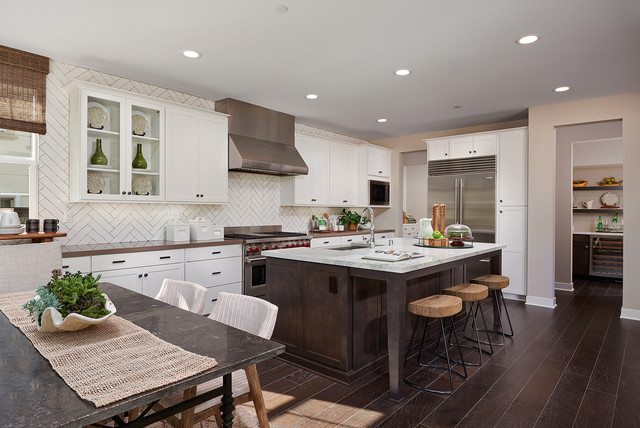 Large Elegant Galley Dark Wood Floor Open Concept Kitchen Photo In San Diego  With A Farmhouse