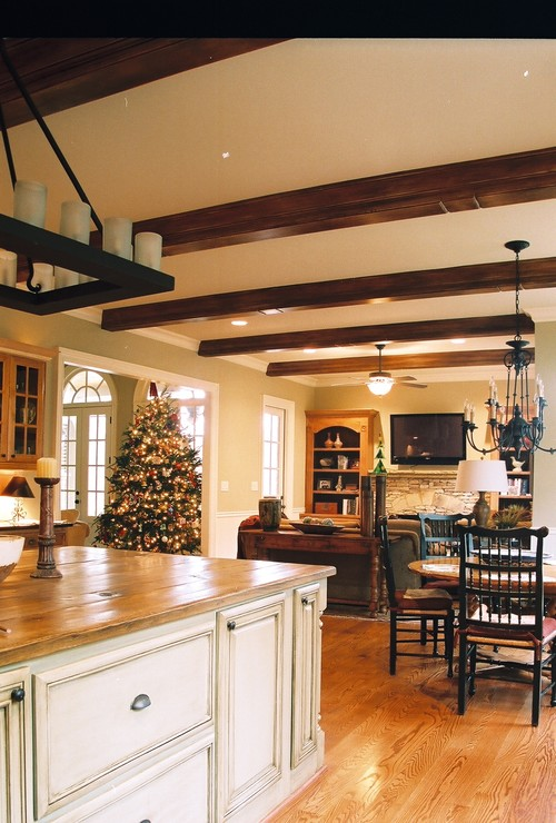 Kitchen island and beams traditional kitchen