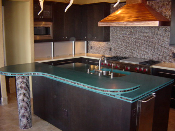 Kitchen Island and Raised Bartop contemporary kitchen countertops