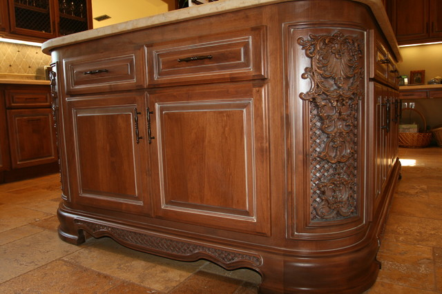 kitchen island cabinet and custom cnc - mediterranean - kitchen