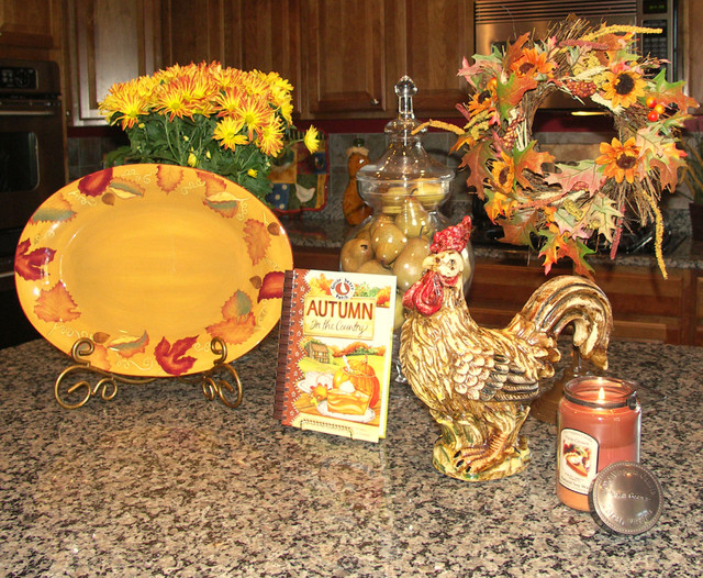 kitchen island decorated for fall traditional kitchen - Fall Kitchen Decorating Ideas