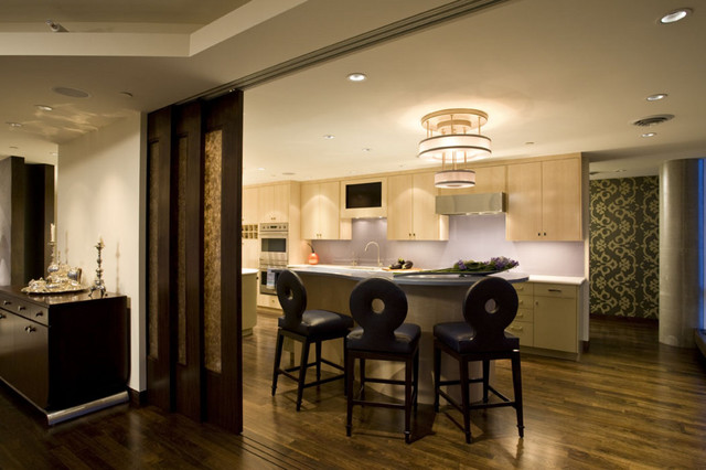 Kitchen island seating area with sliding doors modern - Modern kitchen island with seating ...