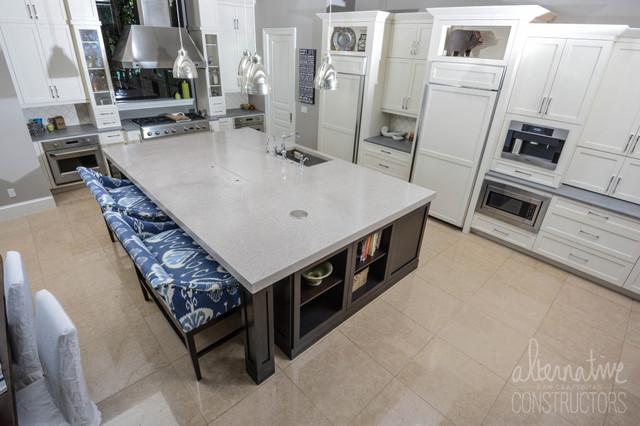 kitchen island terrazzo concrete countertop tropical