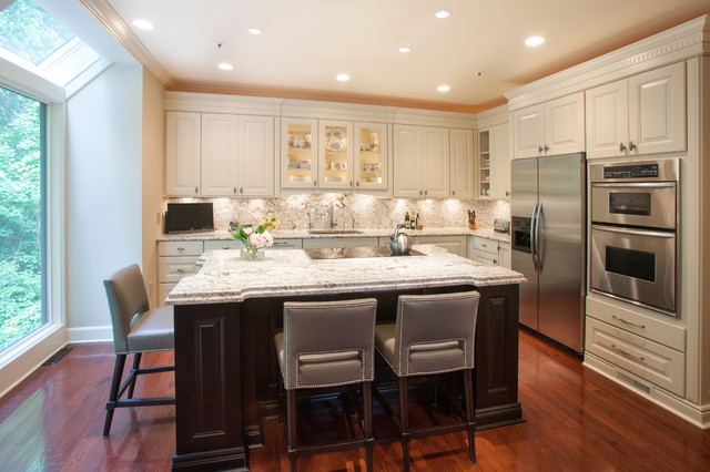 Kitchen Island Two Tone Kitchen Design In Potomac Md Transitional Kitchen Dc Metro By