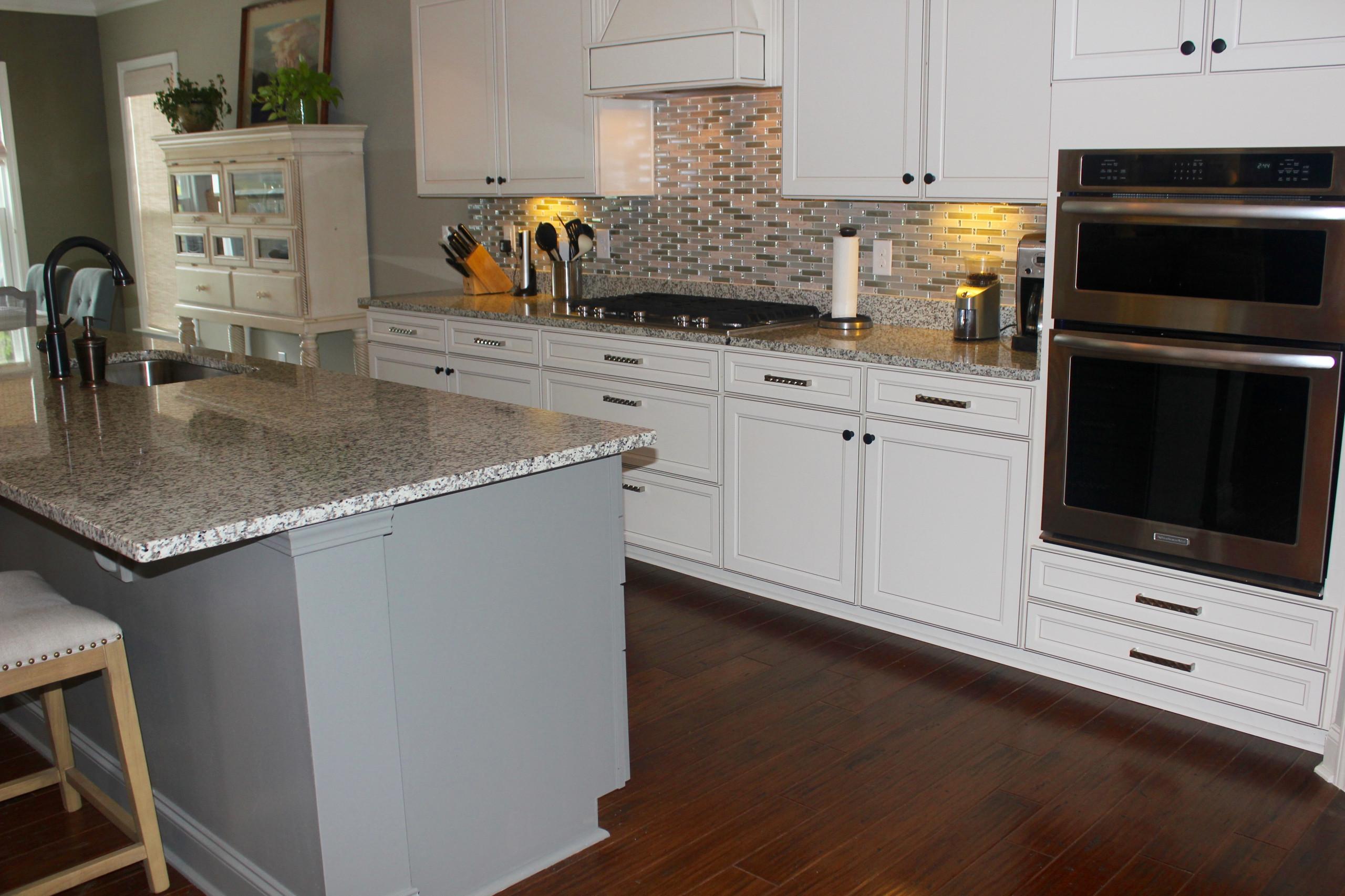 Kitchen Island was painted a medium gray