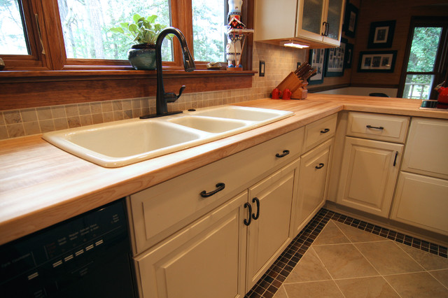 3 Basin Sink In Butcher Block Counter Top Contemporary