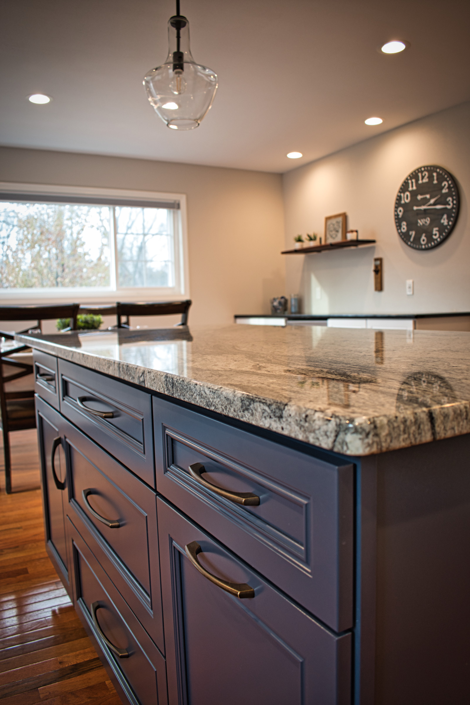 Kitchen Island with Dining and Dry Bar beyond