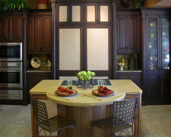 Kitchen Island with Eating Area - This is a custom kitchen island with attached dining area. This top boasts custom bamboo edge profiles. This top is both modern and natural in feel. Priced at $80 per square foot.