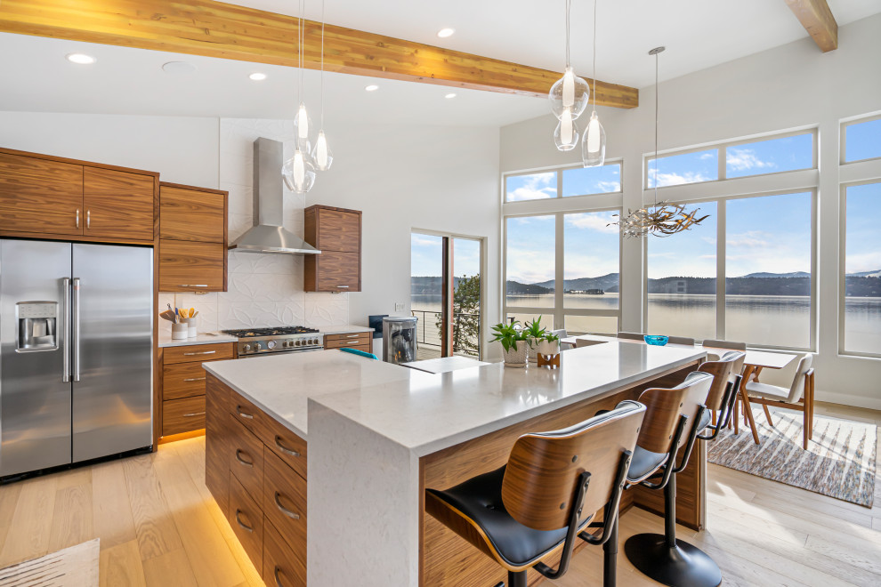 kitchen island with unique bar stools  contemporary