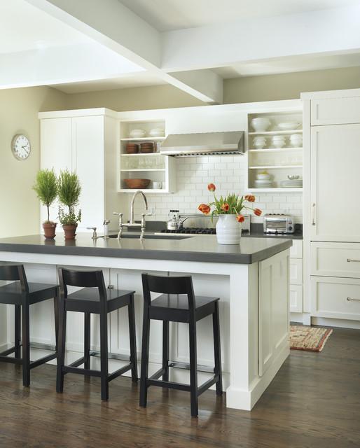 Elegant galley kitchen photo in Providence with open cabinets, white cabinets, white backsplash, subway tile backsplash, paneled appliances and quartz countertops