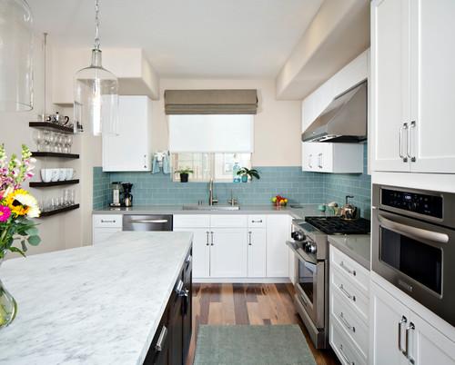 cocina moderna azul y blanco