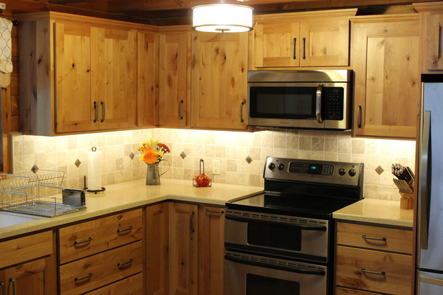 kitchen led lighting knotty pine cabinets craftsman