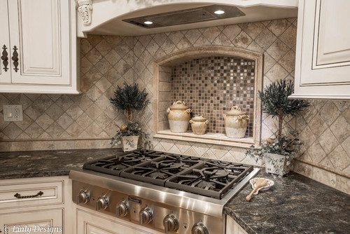 What is the backsplash and island granite for Corner cooktop designs kitchen