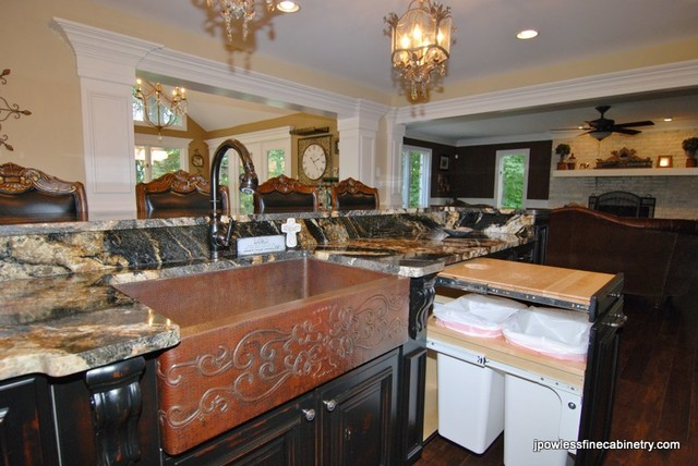 Kitchen Long Island With Burn Through Traditional Kitchen Chicago By