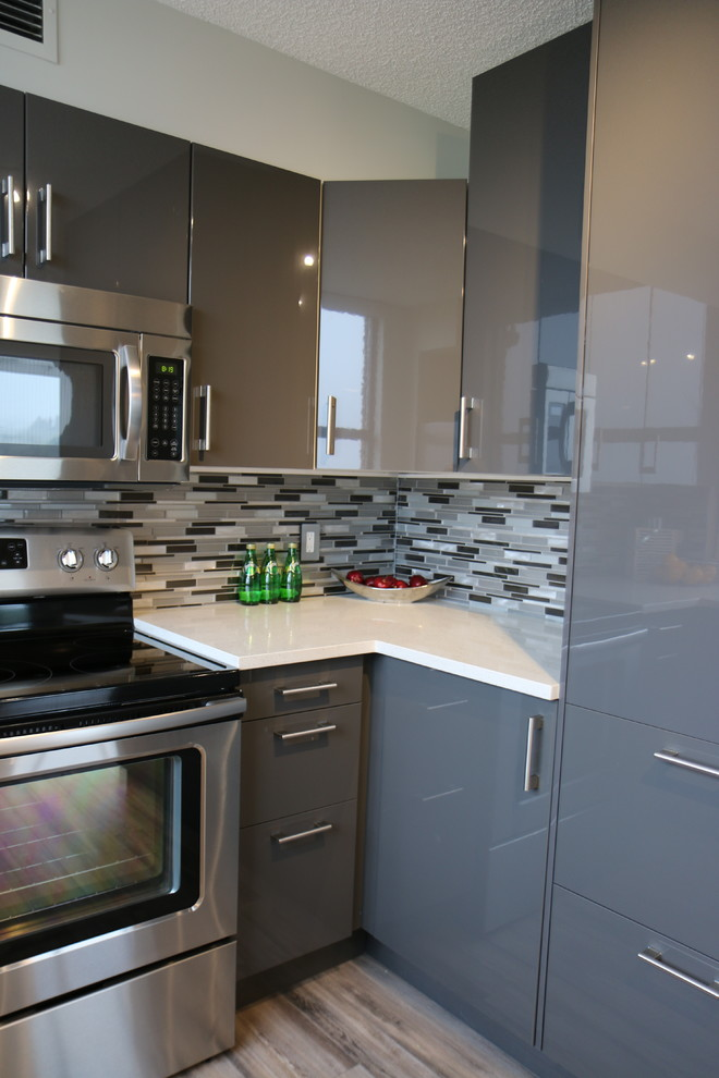 Example of a mid-sized trendy u-shaped light wood floor kitchen pantry design in Calgary with an undermount sink, flat-panel cabinets, gray cabinets, quartz countertops, white backsplash, glass tile backsplash, stainless steel appliances and no island