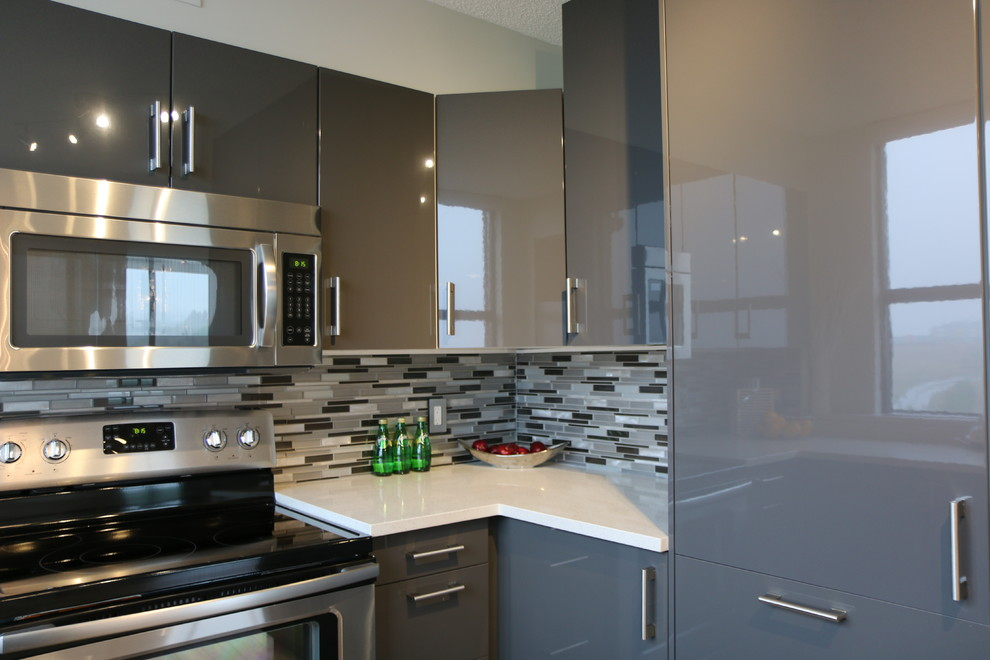 Mid-sized trendy u-shaped light wood floor kitchen photo in Calgary with an undermount sink, flat-panel cabinets, gray cabinets, quartzite countertops, gray backsplash, glass tile backsplash and stainless steel appliances