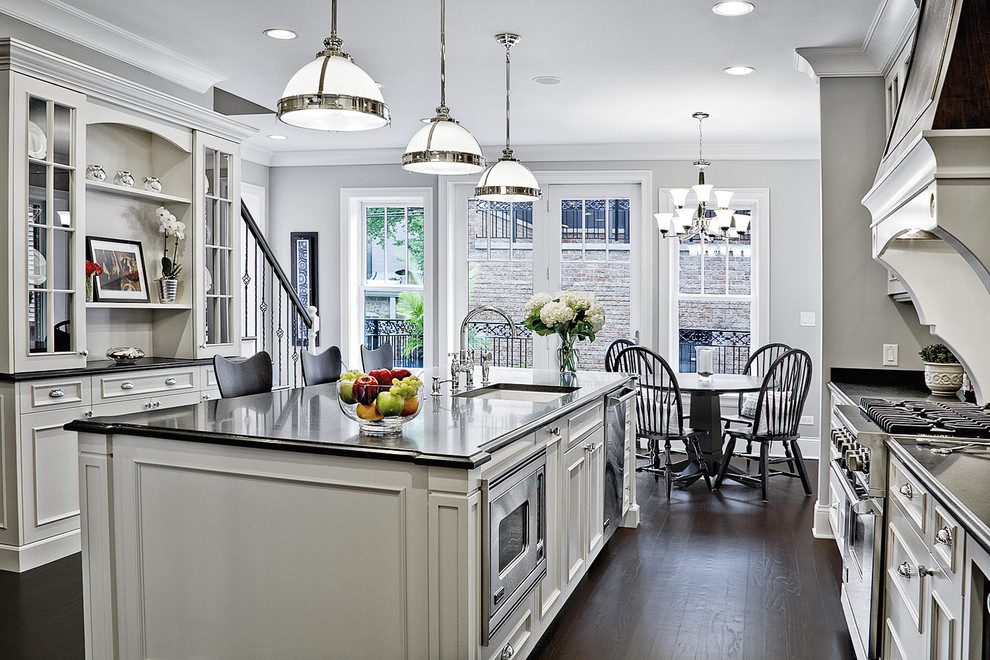 Inspiration for a contemporary kitchen remodel in Chicago with stainless steel appliances