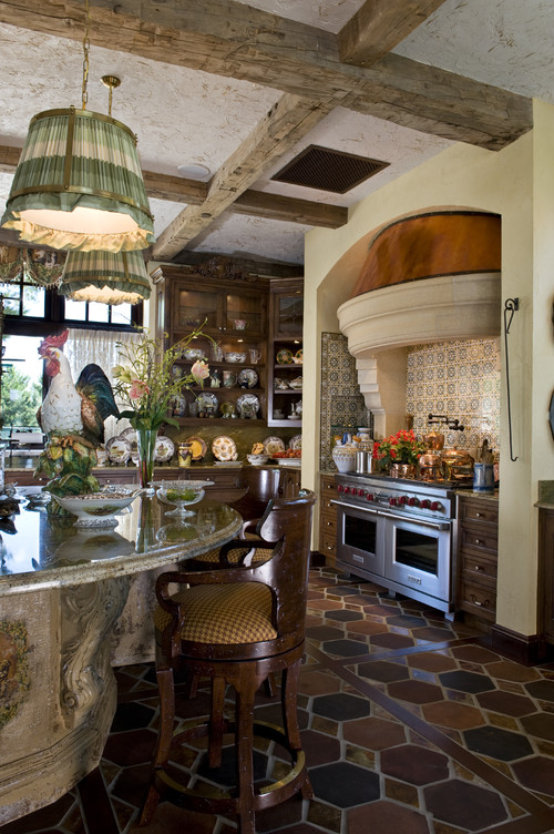 Kitchen Uses Copper And Earth Toned Ceramic Flooring For A Natural, Rustic  Look (by Marie Meko, Allied ASID)