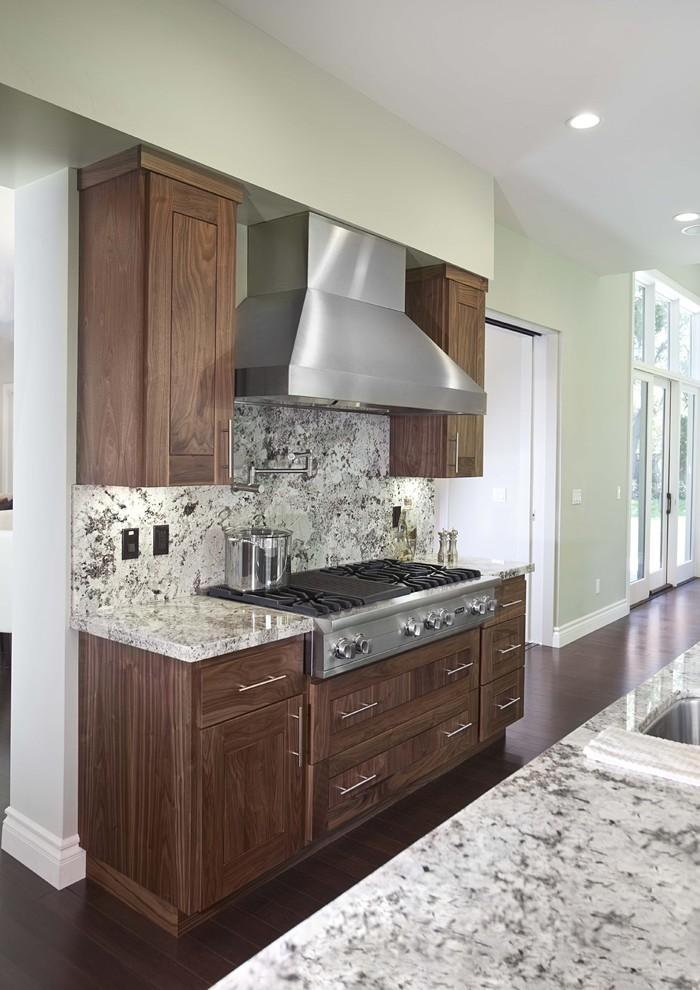 Trendy dark wood floor kitchen photo in San Francisco with multicolored backsplash, stone slab backsplash and stainless steel appliances