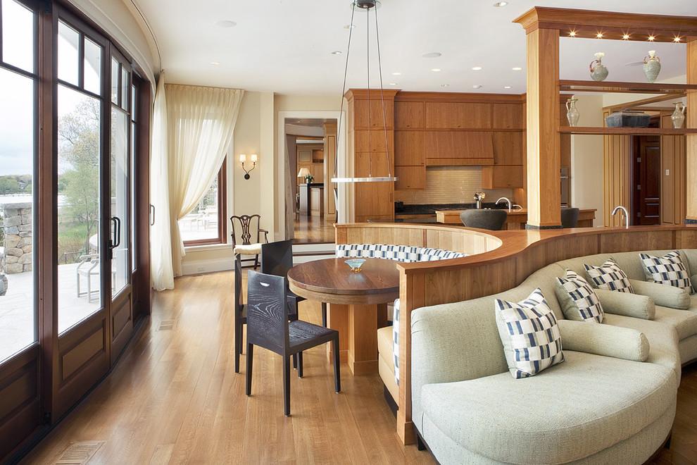 Kitchen - contemporary kitchen idea in Boston with flat-panel cabinets, medium tone wood cabinets and beige backsplash