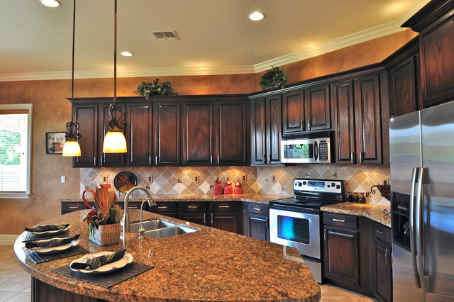Ebony stained oak kitchen cabinets for Darken kitchen cabinets