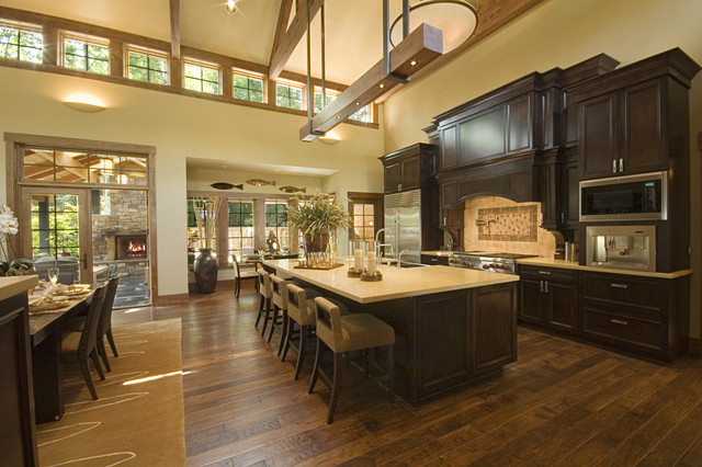 Kitchen open to great room traditional kitchen for House plans with large great rooms