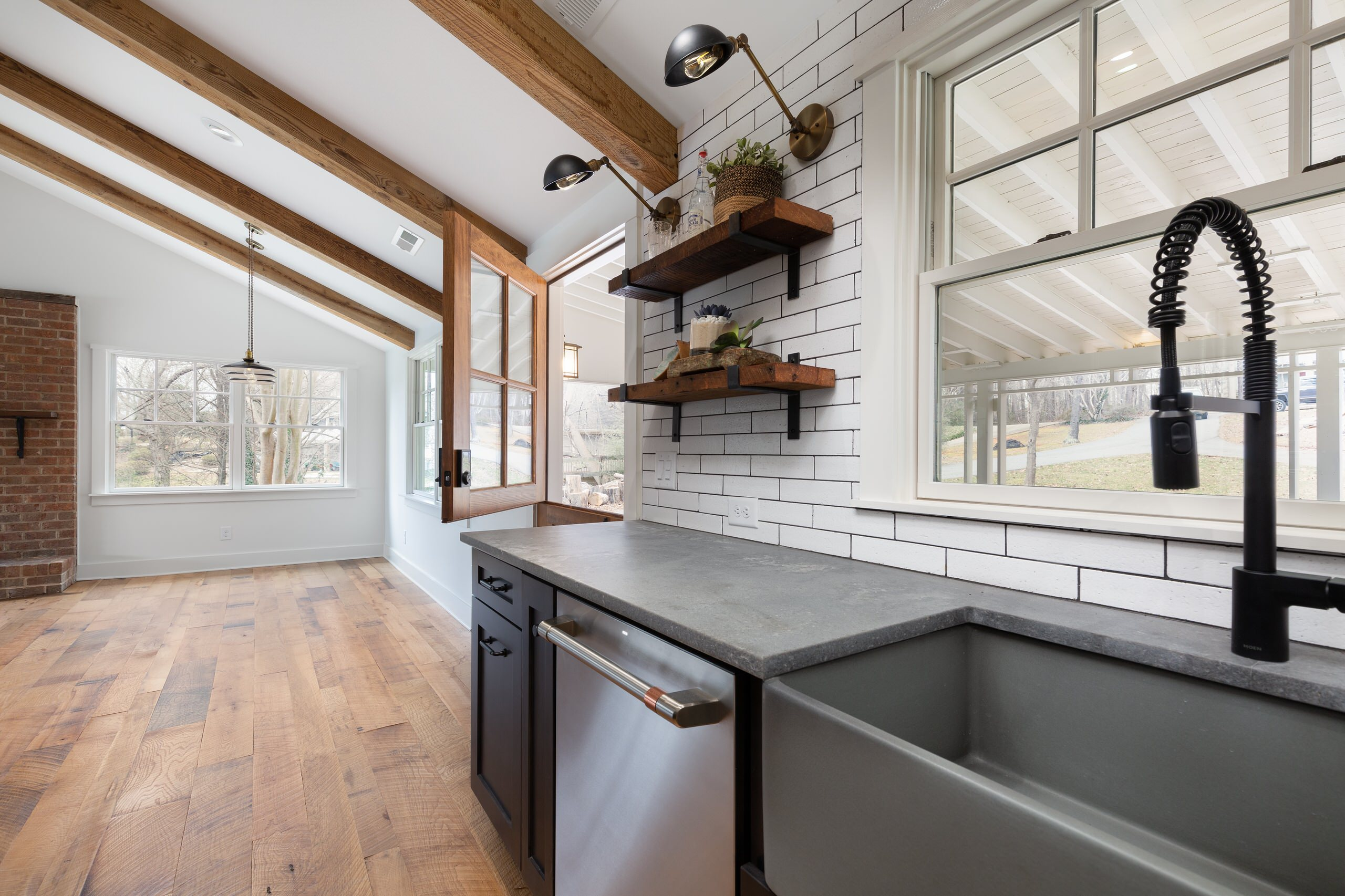 Kitchen opens to dining and living room