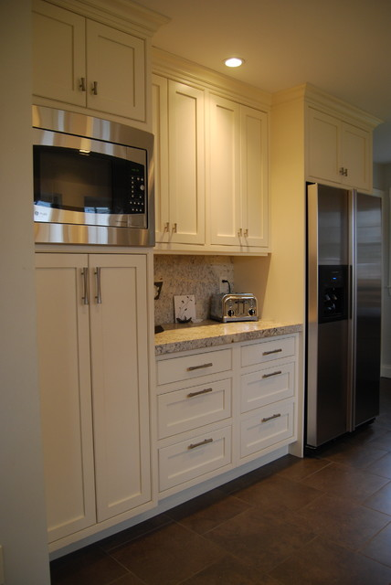 Kitchen Pantry Cabinet, Refridgerator, Coffee Area And Microwave  Traditional Kitchen