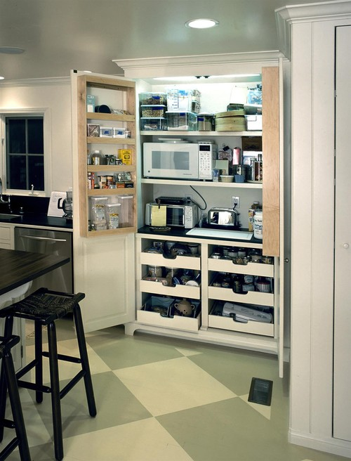 kitchen pantry with integrated appliance storage